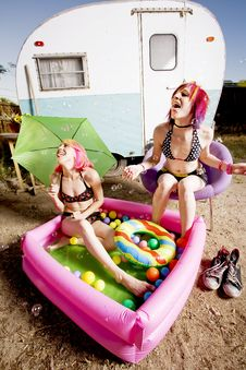 Free Women In A Play Pool Playing With Bubbles Royalty Free Stock Photography - 5640217