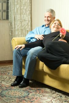 Free A Couple On A Couch - Vertical Royalty Free Stock Photo - 5640985