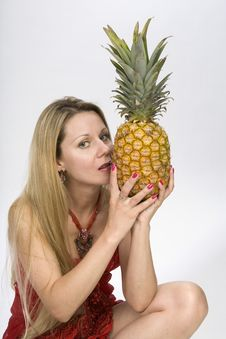 Blonde Woman With Pineapple