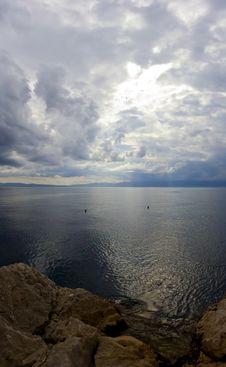 Dark Sky Over Adriatic Sea Stock Photo