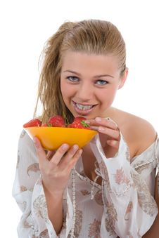 Free Beautiful Girl With Strawberry Stock Photography - 5641592