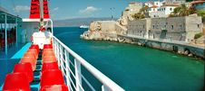 Deck Of Boat And Fortress On The Shore Stock Photos