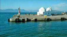 Greek Church On The Pier Royalty Free Stock Images