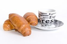Free Cup Of Coffee With Three Croissants In White Royalty Free Stock Photo - 5643445