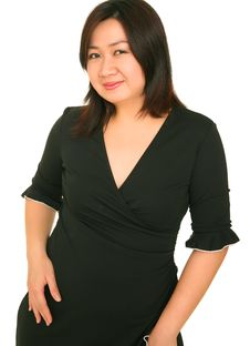 Free Happy Asian Model With Black Dress Stock Photo - 5643510