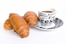Breakfast With Black Coffee And Croissant Stock Image