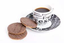 Free Breakfast Three Cookies And Black Coffee Stock Photos - 5643583