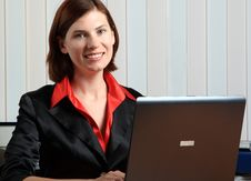 Free The Girl With The Laptop Stock Photo - 5644110