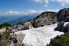 Rocks And Snow At The Peak Of Untersberg . Stock Photo