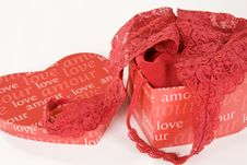 Free Red Lace Lingerie In Heart Shaped Box Stock Photography - 5646322