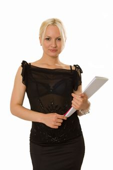 Young Blonde Woman With A Notebook In Her Hands Stock Photo
