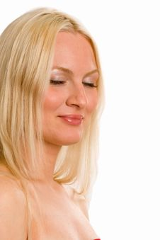 Free A Portrait Of A Blonde Woman With Eyes Closed Royalty Free Stock Photo - 5646525