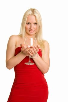 Sensual Blonde Offering A Glass Of Wine Stock Photos