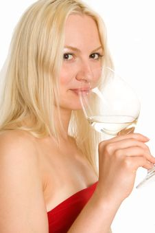 Free Blonde Girl Sipping White Wine Royalty Free Stock Photos - 5646628