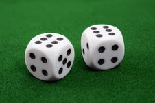 Free Two Dices On Green Surface Stock Images - 5648994