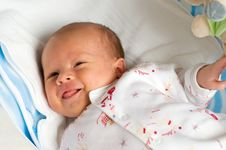 Six Week Baby With Wince Royalty Free Stock Photos