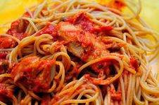 Tuna Tomato Sauce Pasta Royalty Free Stock Image