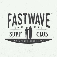 Free Surfing Logo, Label Or Badge. Royalty Free Stock Photo - 56401655