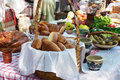 Free Cakes, Bread, Cucumbers, Radishes And Apples On A Table Outside Stock Photos - 56419663