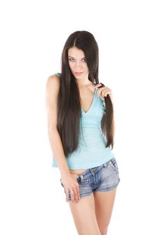 Playing With Long Hair Royalty Free Stock Image