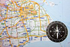 Free Shanghai On The Map And Compass Royalty Free Stock Photo - 5650865