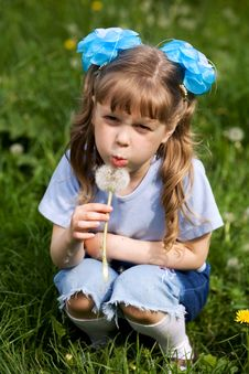 Free Girl With Dandelion Stock Images - 5651364