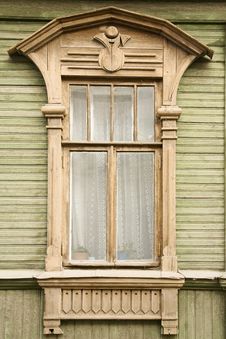 Wooden Decoration On Traditional Russian Window Stock Images