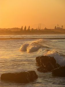 Free Waves And Rocks At Sunset Stock Images - 5652234