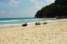 Free Three Waterscooters Lined Up On Exotic Beach Stock Images - 5653404