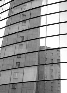 Free Buildings Reflected In Mirror Glass Stock Images - 5654694