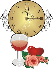 Free Clock, Roses, Heart And Glass Of Wine. Romantic Co Royalty Free Stock Photos - 5655348