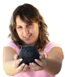 Free Young Lady Holding Piggy Bank Royalty Free Stock Images - 5656529