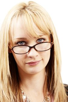 Free Beautiful Blonde Woman Wearing Glasses Royalty Free Stock Photos - 5656558