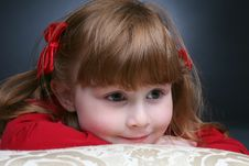 Free Pretty Little Girl Peeking Stock Photo - 5656920