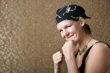 Free Pretty Boxing Woman Wearing A Bandana Royalty Free Stock Images - 5657359