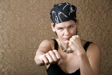Free Pretty Boxing Woman Wearing A Bandana Stock Photos - 5657373
