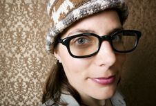 Nerdy Woman In A Knit Cap Royalty Free Stock Photo