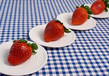 Free Strawberries On Blue Gingham Stock Photos - 5658393
