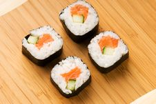 Free Sushi On Bamboo Plate Stock Photo - 5659230