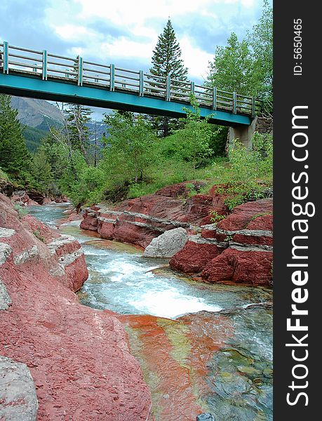 A bridge over the red rock canyon
