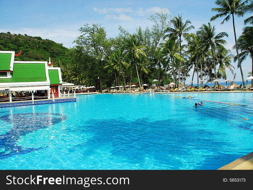 Swimming pool at noon