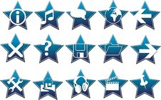 Free Blue Star Button Vector Royalty Free Stock Photos - 5660698