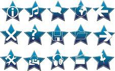 Blue Star Button Vector Royalty Free Stock Photos