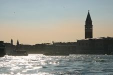 Saint Mark At Sunset From The Lagoon, Venice Royalty Free Stock Photo
