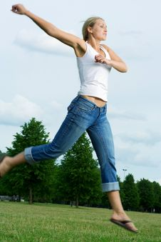 Free Jumping Woman. Stock Photo - 5661240