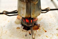 Free Dirty Coffee Pot On The Flame Stock Photography - 5662602