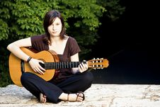 Free Young Woman With Guitar Royalty Free Stock Photography - 5667187