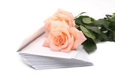 Rose And Pile Of Envelopes Royalty Free Stock Photo