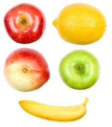 Free A Set Of Fruits On White Stock Images - 5669204