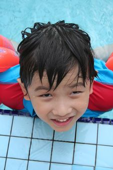 Boy At Pool Stock Photography